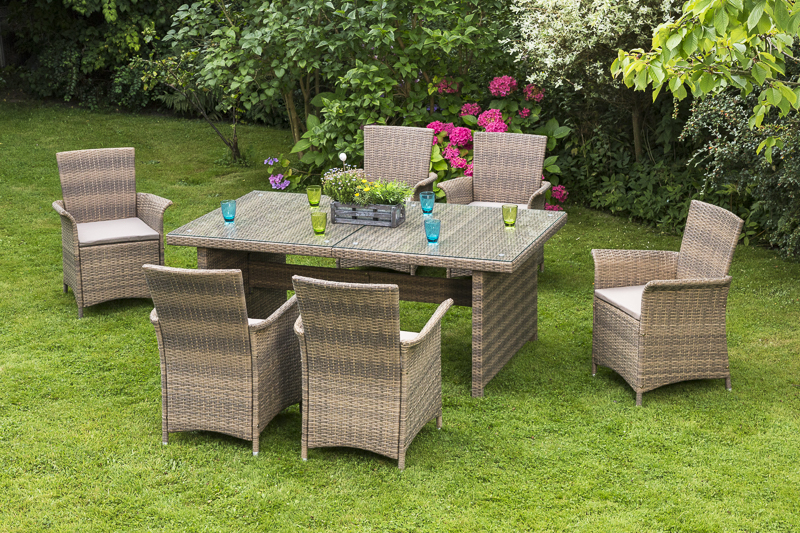 normandie set 7tlg gartenm bel gartenset geflechtm bel ebay. Black Bedroom Furniture Sets. Home Design Ideas